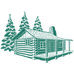 Vector image of wooden cabin house in mountains