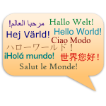 Hello World multi-lingual sign vector image