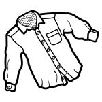 Vector line art illustrationof man's white shirt
