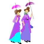 Illustration of two ladies walking in purple dresses