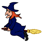 Coloured line art vector image of witch