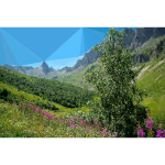 High poly Alpine mountains