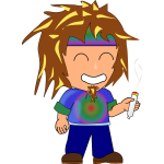 Vector image of hippie kid with a joint