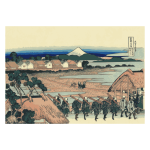 Fuji mountain seen from Senju across the Street of Flowers of Yoshiwara vector clip art