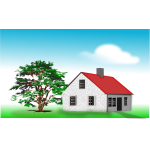 Vector clip art of large house next to an old tree