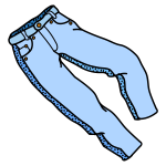 Coloured line art vector image of trousers