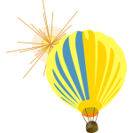 Hot air balloon with sun