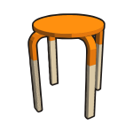 IKEA FROSTA Stool Half ORANGE