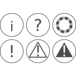 Vector graphics of set of warning notification icons