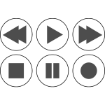 Vector drawing of monochrome media player buttons