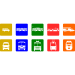 Public transport pictograms vector drawing