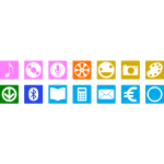 Vector drawing of selection of color smartphone icons