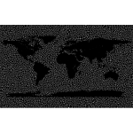 Inverse Tiled Wireframe World Map Black