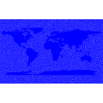 Inverse Tiled Wireframe World Map Blue