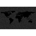 Inverse Tiled Wireframe World Map Minus Antarctica Black