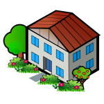 Vector clip art of red roof home