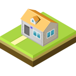 Vector illustration of yellow roof home