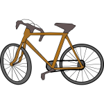 Cartoon brown bicycle color image.