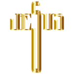 Jesus Cross Typography Gold No Background
