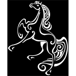 Jumping horse line art negative illustration