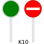 No entry traffic sign on pole color vector drawing