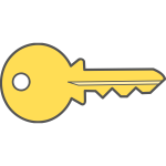 Yellow lock key vector image