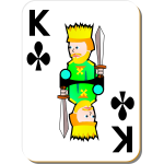 King of Clubs gaming card vector drawing