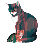 Kitten And Mother Illustration