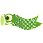 Vector graphics of green Koinobori