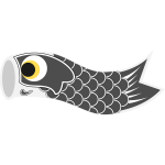 Vector graphics of grey Koinobori