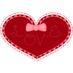Valentines Day heart with lace and love stitched on it vector image