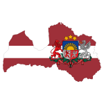 Latvia Map Flag With Stroke And Coat Of Arms