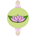 Lotus flower in round green frame