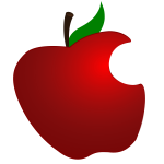 Apple with bite icon vector drawing