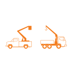 Lift and crane trucks vector drawing