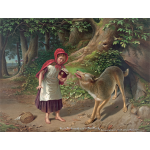 Little Red Riding Hood meeting the wolf color drawing