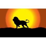Lion in sunset