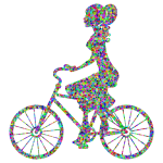 Low Poly Prismatic Girl On Bike High Detail