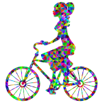Low Poly Prismatic Girl On Bike