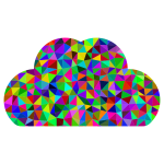 Low Poly Prismatic Simple Cloud Icon Silhouette