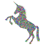 Prismatic unicorn silhouette