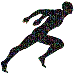 Low Poly Prismatic Wireframe Sprinting Man With Background