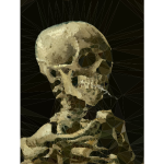 Low Poly Skeleton With Burning Cigarette Vincent Van Gogh