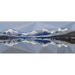 Low Poly Snow Capped Mountains Lake