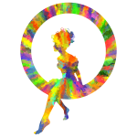 Low Poly Splash Of Color Fairy Sitting In A Circle Silhouette