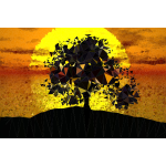 Low Poly Tree Silhouette Sunset