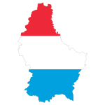 Luxembourg Map Flag With Stroke