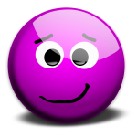 Vector image of purple friendly smiley