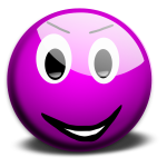 Vector illustration of purple cheeky smiley