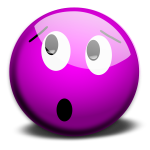 Vector image of purple dazed smiley